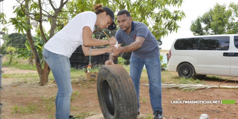 Personal Ministerio de la Presidencia y 911 realizan labores de prevención del dengue en Ciudad Juan Bosch y zonas aledañas