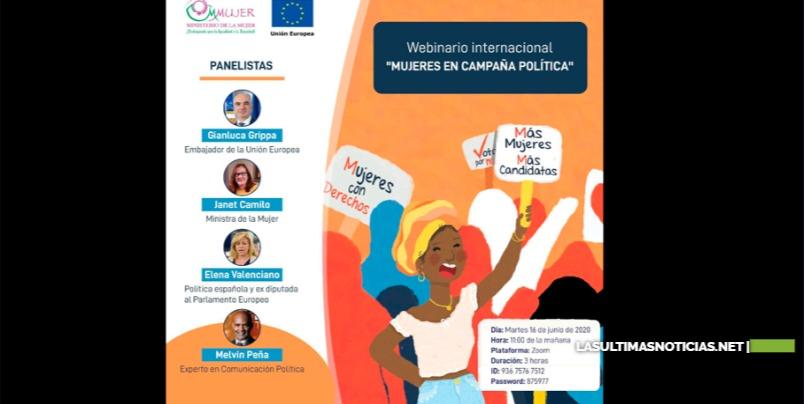"""El Ministerio de la Mujer y la embajada de la Unión Europea en RD realizarán webinario """"Mujeres en campaña"""" para mujeres políticas"""